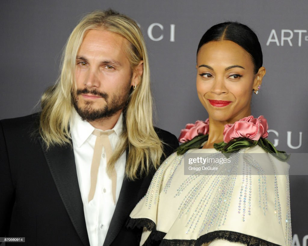 Zoe Saldana and Marco Perego arrive at the 2017 LACMA Art + Film Gala honoring Mark Bradford and George Lucas at LACMA on November 4, 2017 in Los Angeles, California.