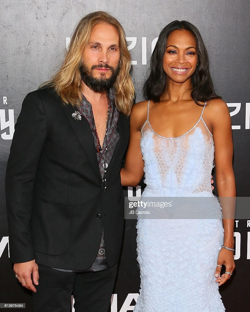 Zoe Saldana and Marco Perego attend the premiere of Paramount Pictures' 'Star Trek Beyond' at Embarcadero Marina Park South on July 20, 2016 in San Diego, California.