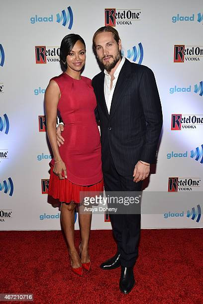 Zoe Saldana and Marco Perego attends VIP Red Carpet Suite Hosted by Ketel One Vodka at 26th Annual GLAAD Media Awards at the Beverly Hilton on March...