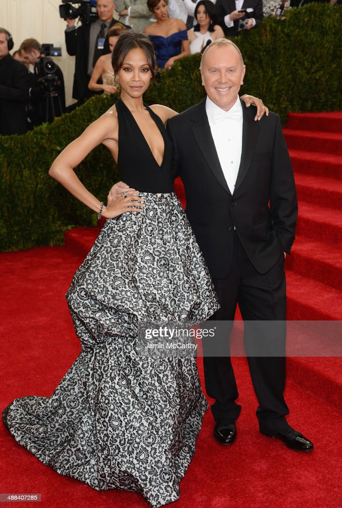 Zoe Saldana and Michael Kors attend the 'Charles James: Beyond Fashion' Costume Institute Gala at the Metropolitan Museum of Art on May 5, 2014 in New York City.
