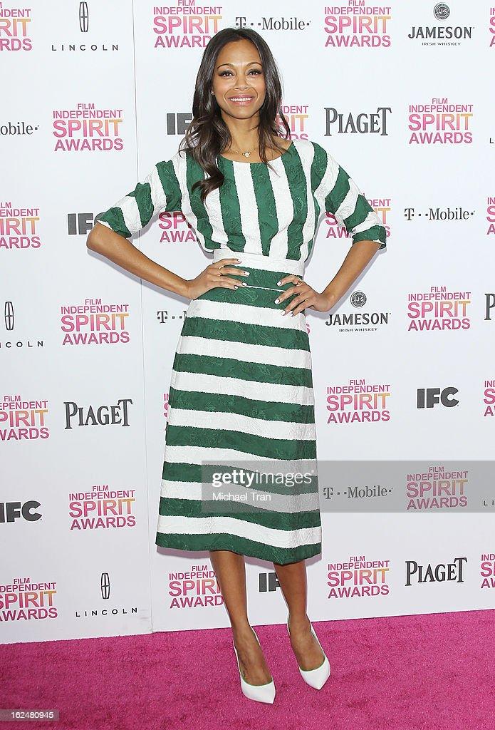 Zoe Saldana arrives at the 2013 Film Independent Spirit Awards held on February 23, 2013 in Santa Monica, California.