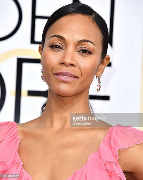 Zoe Saldana arrives at the 74th Annual Golden Globe Awards at The Beverly Hilton Hotel on January 8 2017 in Beverly Hills California