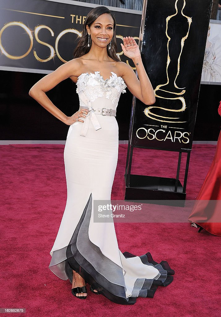 Zoe Saldana arrives at the 85th Annual Academy Awards at Dolby Theatre on February 24, 2013 in Hollywood, California.