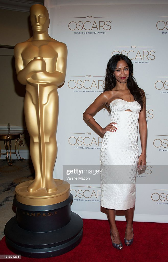 Zoe Saldana arrives at the Academy Of Motion Picture Arts And Sciences' Scientific & Technical Awards at Beverly Hills Hotel on February 9, 2013 in Beverly Hills, California.