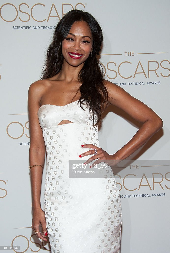 <a gi-track='captionPersonalityLinkClicked' href=/galleries/search?phrase=Zoe+Saldana&family=editorial&specificpeople=542691 ng-click='$event.stopPropagation()'>Zoe Saldana</a> arrives at the Academy Of Motion Picture Arts And Sciences' Scientific & Technical Awards at Beverly Hills Hotel on February 9, 2013 in Beverly Hills, California.
