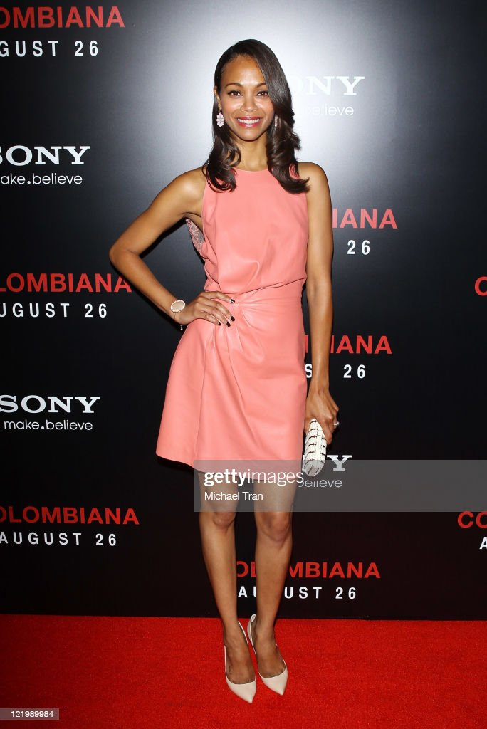 <a gi-track='captionPersonalityLinkClicked' href=/galleries/search?phrase=Zoe+Saldana&family=editorial&specificpeople=542691 ng-click='$event.stopPropagation()'>Zoe Saldana</a> arrives at the 'Colombiana' Los Angeles screening held at Soho House on August 24, 2011 in Los Angeles, California.