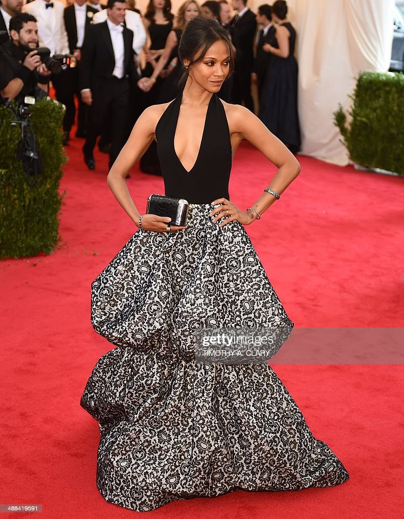 Zoe Saldana arrives at the Costume Institute Benefit at The Metropolitan Museum of Art May 5, 2014 in New York. AFP PHOTO/Timothy A. CLARY