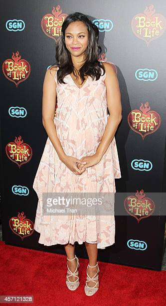 Zoe Saldana arrives at the Los Angeles premiere of 'Book Of Life' held at Regal Cinemas LA Live on October 12 2014 in Los Angeles California