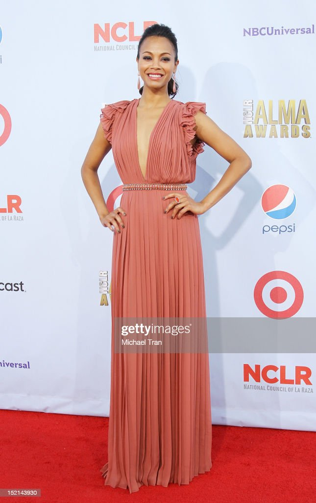 <a gi-track='captionPersonalityLinkClicked' href=/galleries/search?phrase=Zoe+Saldana&family=editorial&specificpeople=542691 ng-click='$event.stopPropagation()'>Zoe Saldana</a> arrives at the NCLR 2012 ALMA Awards held at Pasadena Civic Auditorium on September 16, 2012 in Pasadena, California.