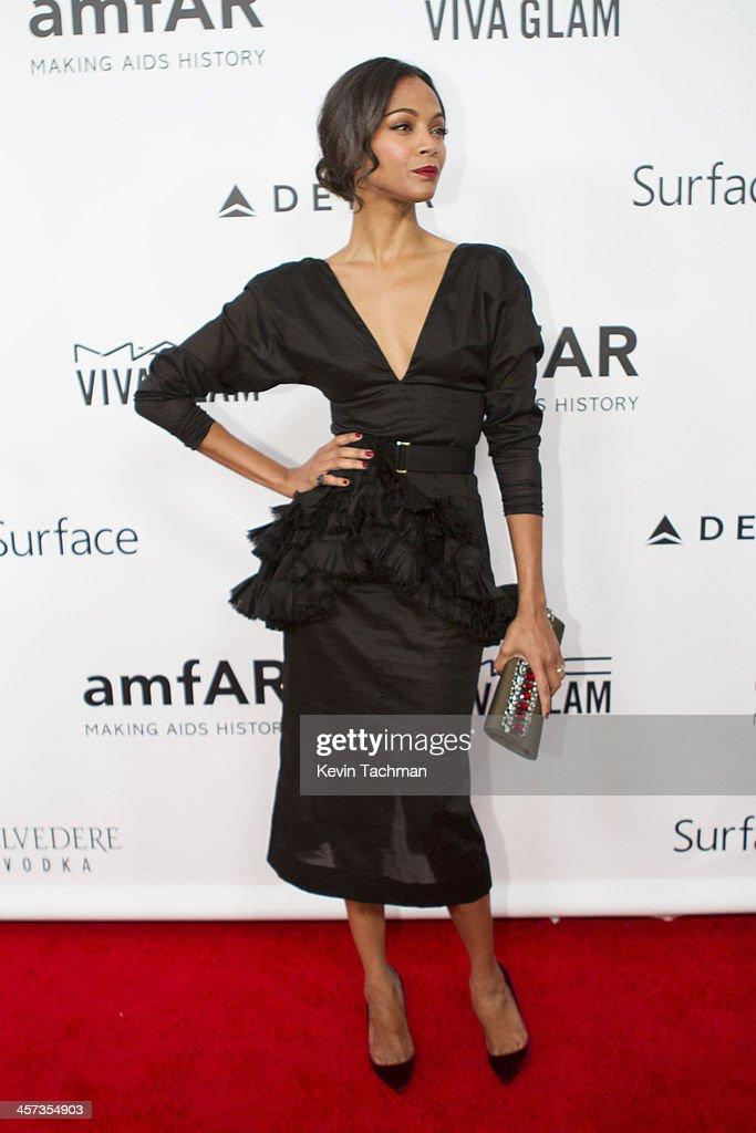 Zoe Saldana attends the 2013 amfAR Inspiration Gala Los Angeles at Milk Studios on December 12, 2013 in Los Angeles, California.