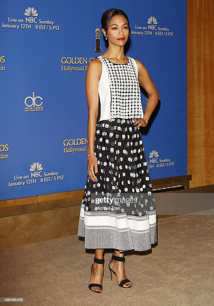 <a gi-track='captionPersonalityLinkClicked' href=/galleries/search?phrase=Zoe+Saldana&family=editorial&specificpeople=542691 ng-click='$event.stopPropagation()'>Zoe Saldana</a> attends the 71st Annual Golden Globe Awards Nominations Announcement held at The Beverly Hilton on December 12, 2013 in Beverly Hills, California.