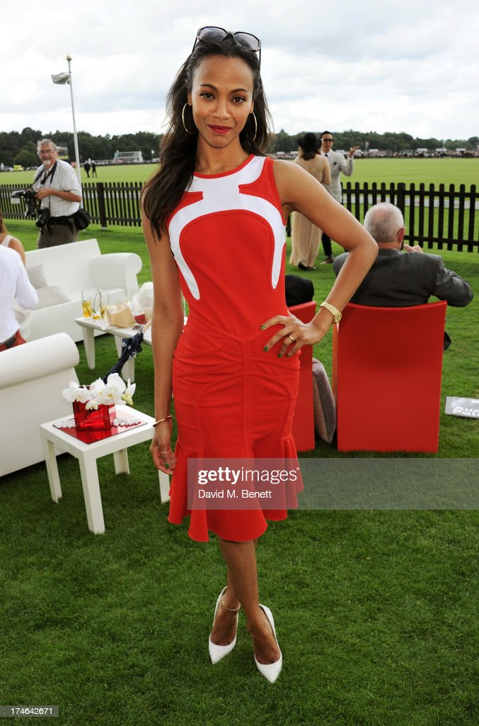 Zoe Saldana attends the Audi International Polo at Guards Polo Club on July 28, 2013 in Egham, England.