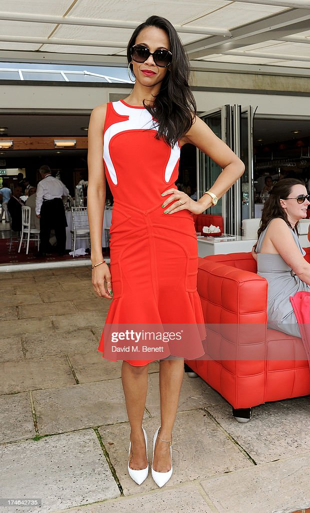 <a gi-track='captionPersonalityLinkClicked' href=/galleries/search?phrase=Zoe+Saldana&family=editorial&specificpeople=542691 ng-click='$event.stopPropagation()'>Zoe Saldana</a> attends the Audi International Polo at Guards Polo Club on July 28, 2013 in Egham, England.