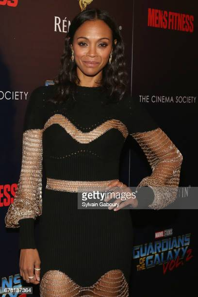 Zoe Saldana attends The Cinema Society with Men's Fitness Muscle Fitness and Remy Martin host a screening of Marvel Studios' 'Guardians of the Galaxy...