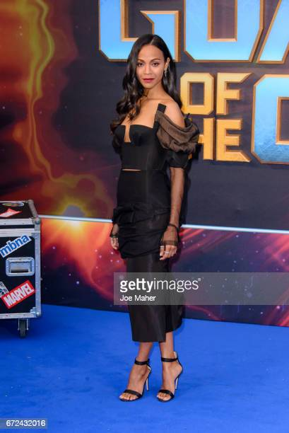 Zoe Saldana attends the European Gala Screening of 'Guardians of the Galaxy Vol 2' at Eventim Apollo on April 24 2017 in London United Kingdom