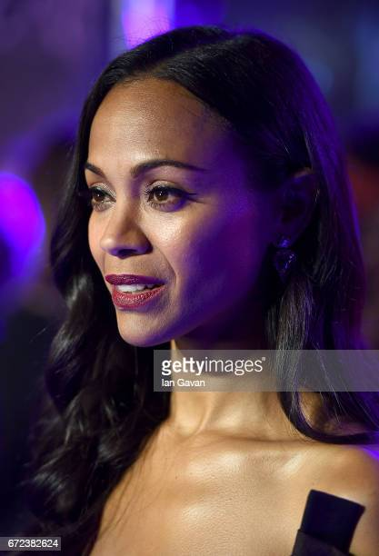 Zoe Saldana attends the European launch event of Marvel Studios' 'Guardians of the Galaxy Vol 2' at the Eventim Apollo on April 24 2017 in London...