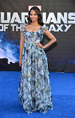 Zoe Saldana attends the European Premiere of 'Guardians of the Galaxy' at Empire Leicester Square on July 24 2014 in London England