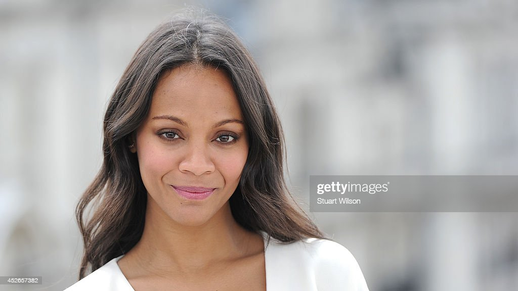 Zoe Saldana attends the 'Guardians of the Galacy' photocall on July 25, 2014 in London, England.