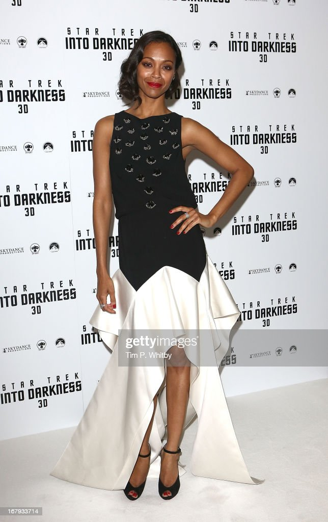 <a gi-track='captionPersonalityLinkClicked' href=/galleries/search?phrase=Zoe+Saldana&family=editorial&specificpeople=542691 ng-click='$event.stopPropagation()'>Zoe Saldana</a> attends the IMAX 3D Premiere of 'Star Trek Into Darkness' at BFI IMAX on May 2, 2013 in London, England.>>