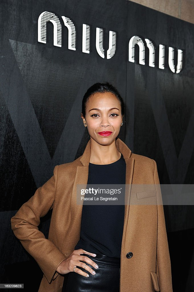 <a gi-track='captionPersonalityLinkClicked' href=/galleries/search?phrase=Zoe+Saldana&family=editorial&specificpeople=542691 ng-click='$event.stopPropagation()'>Zoe Saldana</a> attends the Miu Miu Fall/Winter 2013 Ready-to-Wear show as part of Paris Fashion Week on March 6, 2013 in Paris, France.