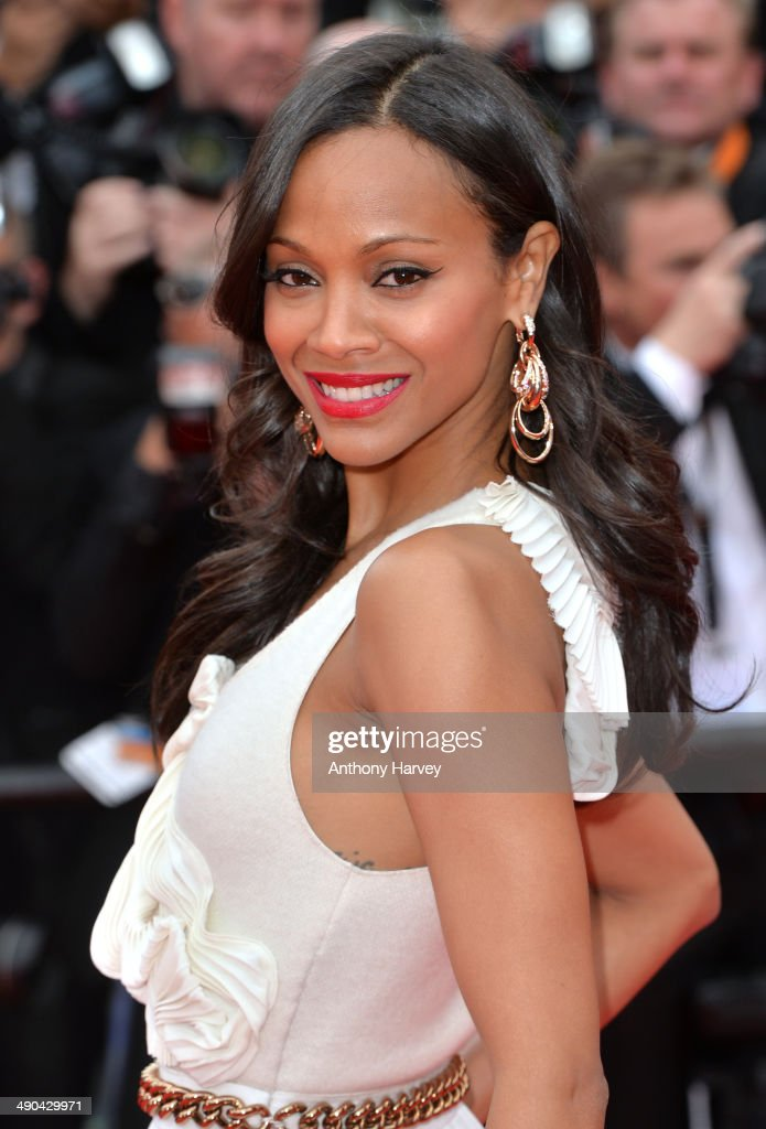 Zoe Saldana attends the opening ceremony and 'Grace of Monaco' premiere at the 67th Annual Cannes Film Festival on May 14 2014 in Cannes France