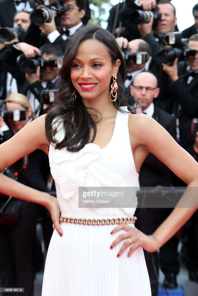 <a gi-track='captionPersonalityLinkClicked' href=/galleries/search?phrase=Zoe+Saldana&family=editorial&specificpeople=542691 ng-click='$event.stopPropagation()'>Zoe Saldana</a> attends the Opening ceremony and Premiere of 'Grace of Monaco' at the 67th Annual Cannes Film Festival on May 14, 2014 in Cannes, France.