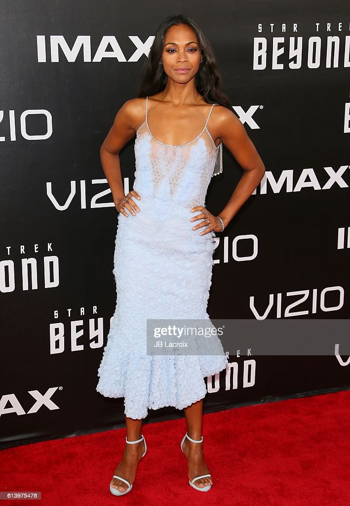 Zoe Saldana attends the premiere of Paramount Pictures' 'Star Trek Beyond' at Embarcadero Marina Park South on July 20, 2016 in San Diego, California.