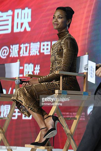 Zoe saldana attends the press conference of the Paramount Pictures title 'Star Trek Beyond' on August 18 2016 at Indigo Mall in Beijing China