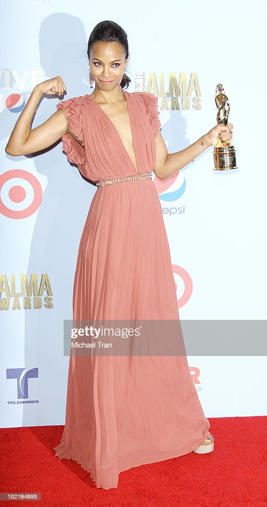 Zoe Saldana attends the press room at the NCLR 2012 ALMA Awards held at Pasadena Civic Auditorium on September 16, 2012 in Pasadena, California.