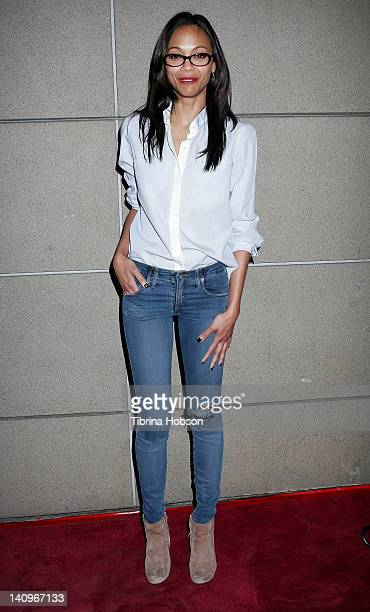 Zoe Saldana attends 'The Ropes' Los Angeles premiere at Lucky Strikes on March 8 2012 in Hollywood California