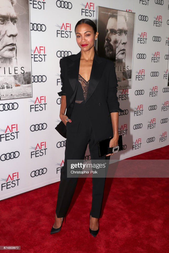Zoe Saldana attends the screening of 'Hostiles' at AFI FEST 2017 Presented By Audi at TCL Chinese Theatre on November 14, 2017 in Hollywood, California.
