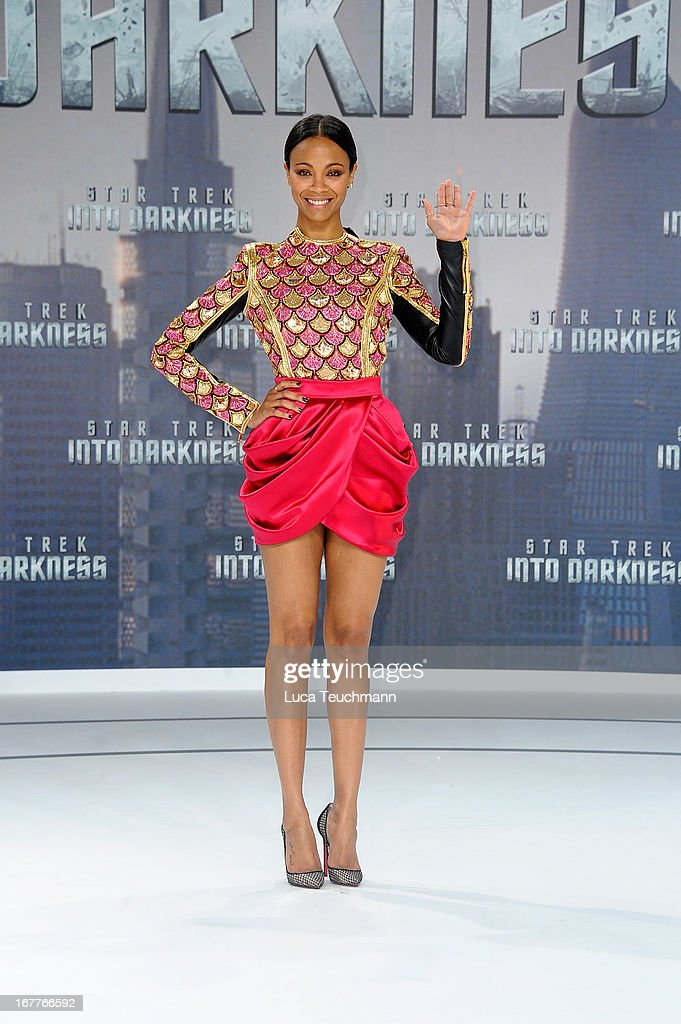 <a gi-track='captionPersonalityLinkClicked' href=/galleries/search?phrase=Zoe+Saldana&family=editorial&specificpeople=542691 ng-click='$event.stopPropagation()'>Zoe Saldana</a> attends the 'Star Trek Into Darkness' German Premiere at CineStar on April 29, 2013 in Berlin, Germany.