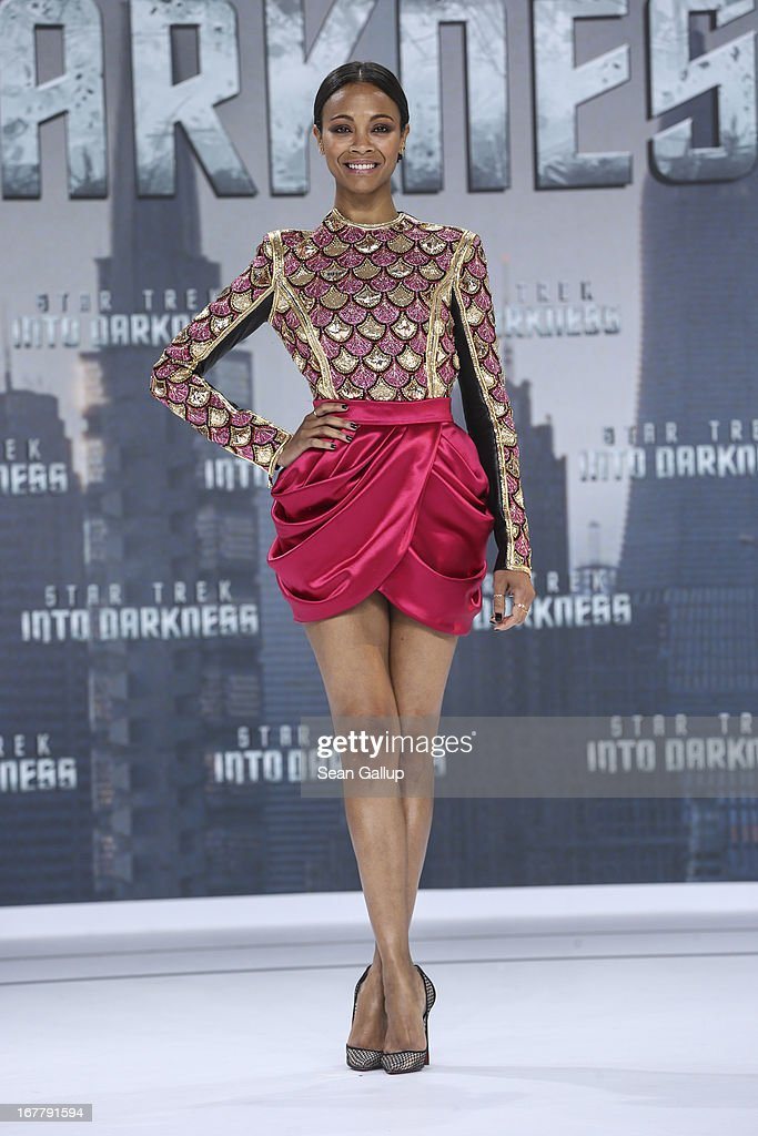 <a gi-track='captionPersonalityLinkClicked' href=/galleries/search?phrase=Zoe+Saldana&family=editorial&specificpeople=542691 ng-click='$event.stopPropagation()'>Zoe Saldana</a> attends the 'Star Trek Into Darkness' Premiere at CineStar on April 29, 2013 in Berlin, Germany.