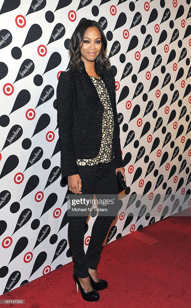 <a gi-track='captionPersonalityLinkClicked' href=/galleries/search?phrase=Zoe+Saldana&family=editorial&specificpeople=542691 ng-click='$event.stopPropagation()'>Zoe Saldana</a> attends the Target + Neiman Marcus Holiday Collection launch on November 28, 2012 in New York City.