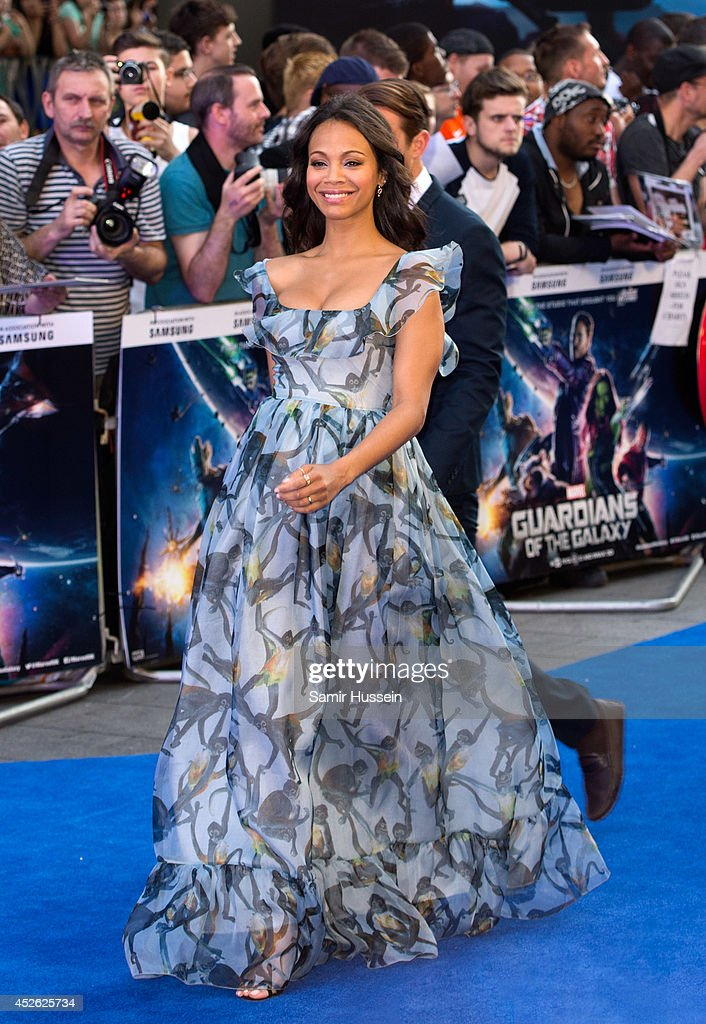 <a gi-track='captionPersonalityLinkClicked' href=/galleries/search?phrase=Zoe+Saldana&family=editorial&specificpeople=542691 ng-click='$event.stopPropagation()'>Zoe Saldana</a> attends the UK Premiere of 'Guardians of the Galaxy' at Empire Leicester Square on July 24, 2014 in London, England.