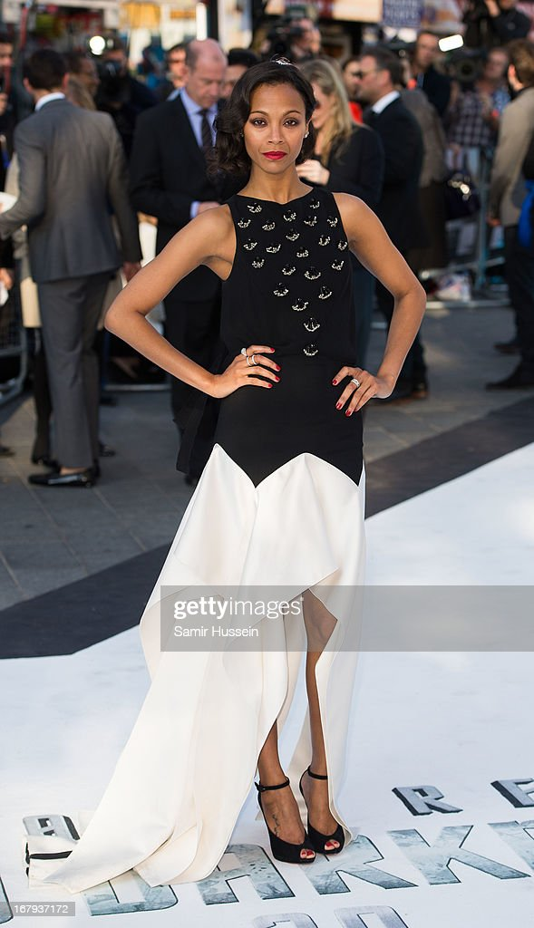 Zoe Saldana attends the UK Premiere of 'Star Trek Into Darkness' at The Empire Cinema on May 2, 2013 in London, England.