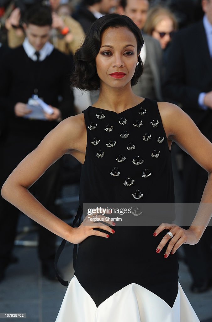 Zoe Saldana attends the UK premiere of 'Star Trek Into Darkness' at The Empire Cinema on May 2 2013 in London England
