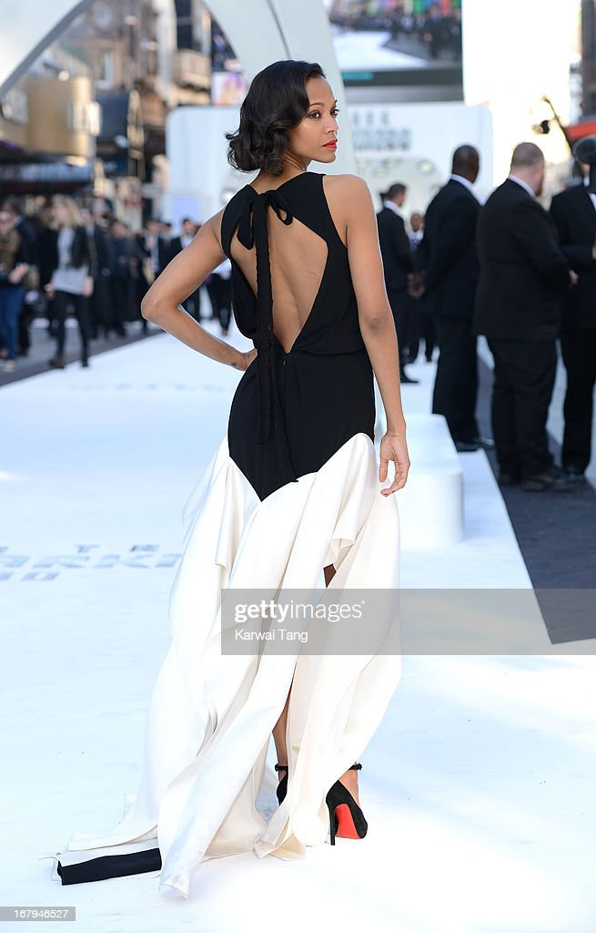 <a gi-track='captionPersonalityLinkClicked' href=/galleries/search?phrase=Zoe+Saldana&family=editorial&specificpeople=542691 ng-click='$event.stopPropagation()'>Zoe Saldana</a> attends the UK Premiere of 'Star Trek Into Darkness' at The Empire Cinema on May 2, 2013 in London, England.