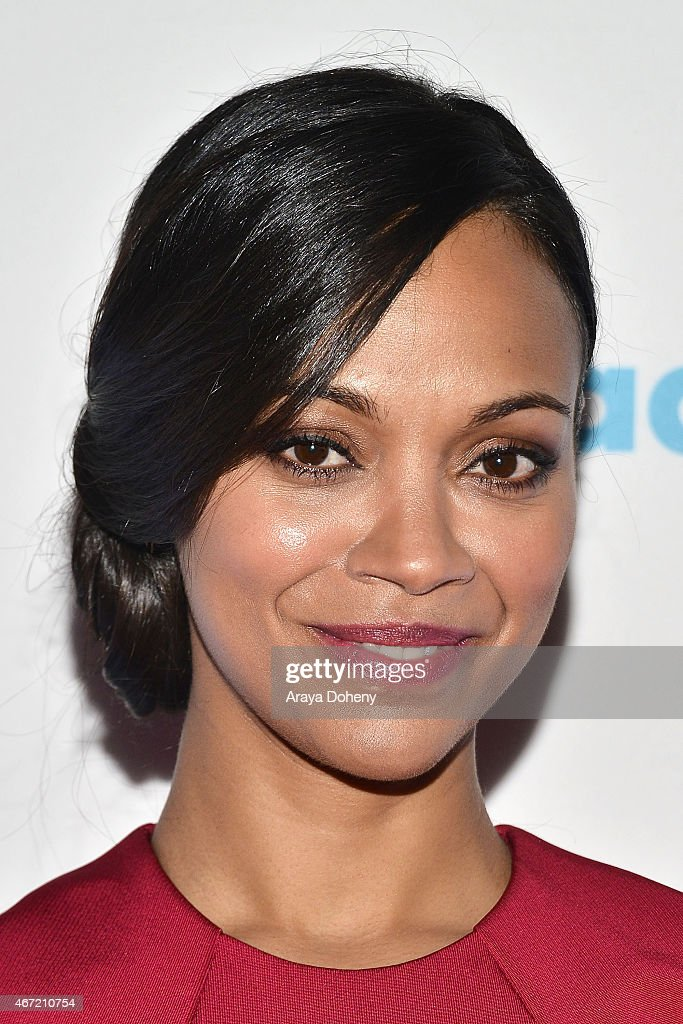Zoe Saldana attends VIP Red Carpet Suite Hosted by Ketel One Vodka at 26th Annual GLAAD Media Awards at the Beverly Hilton on March 21, 2015 in Los Angeles at The Beverly Hilton Hotel on March 21, 2015 in Beverly Hills, California.