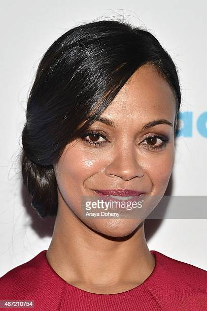 Zoe Saldana attends VIP Red Carpet Suite Hosted by Ketel One Vodka at 26th Annual GLAAD Media Awards at the Beverly Hilton on March 21 2015 in Los...