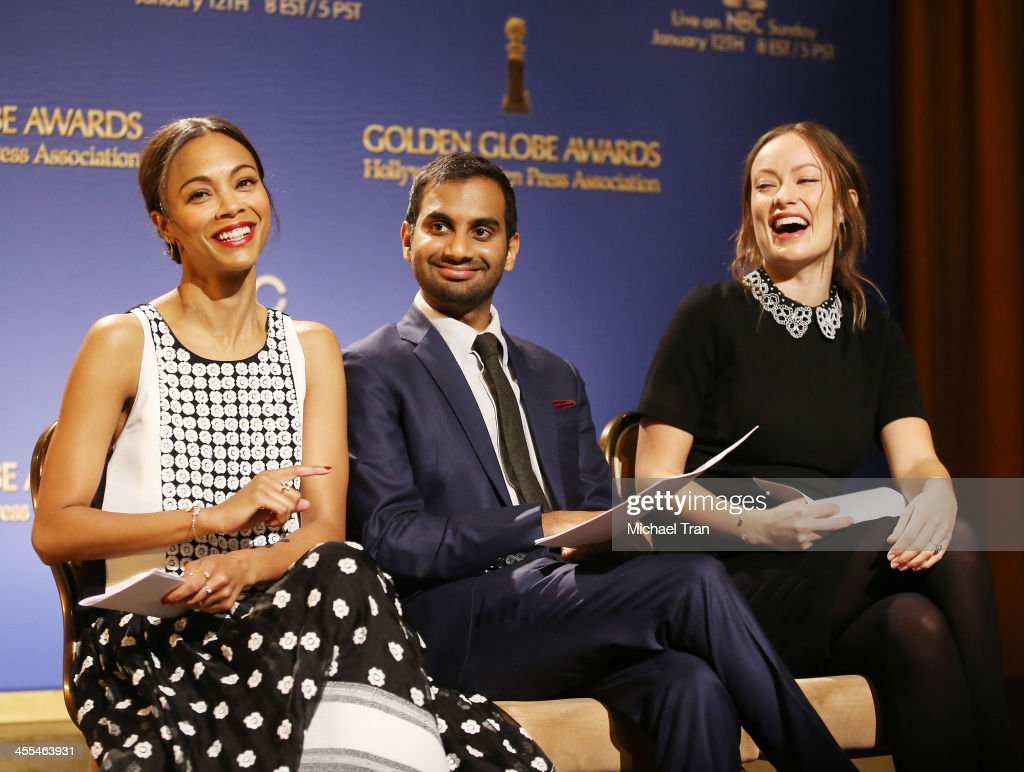 <a gi-track='captionPersonalityLinkClicked' href=/galleries/search?phrase=Zoe+Saldana&family=editorial&specificpeople=542691 ng-click='$event.stopPropagation()'>Zoe Saldana</a>, <a gi-track='captionPersonalityLinkClicked' href=/galleries/search?phrase=Aziz+Ansari&family=editorial&specificpeople=4266146 ng-click='$event.stopPropagation()'>Aziz Ansari</a> and <a gi-track='captionPersonalityLinkClicked' href=/galleries/search?phrase=Olivia+Wilde&family=editorial&specificpeople=235399 ng-click='$event.stopPropagation()'>Olivia Wilde</a> attend the 71st Annual Golden Globe Awards Nominations Announcement held at The Beverly Hilton on December 12, 2013 in Beverly Hills, California.
