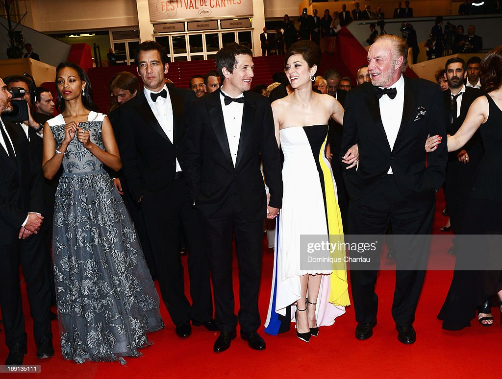 Zoe Saldana, Clive Owen, director Guillaume Canet, Marion Cotillard and James Caan leave the Premiere of 'Blood Ties' during the 66th Annual Cannes Film Festival at the Palais des Festivals on May 20, 2013 in Cannes, France.