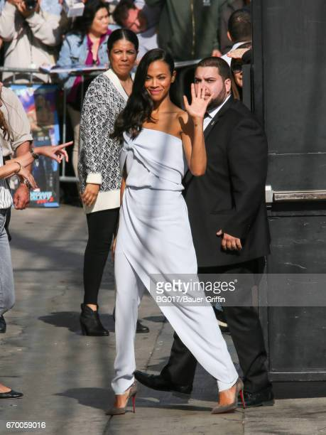 Zoe Saldana is seen at 'Jimmy Kimmel Live' on April 17 2017 in Los Angeles California