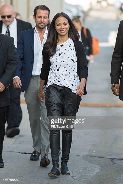 Zoe Saldana is seen departing the studios of 'Jimmy Kimmel Live' on June 11 2015 in Los Angeles California
