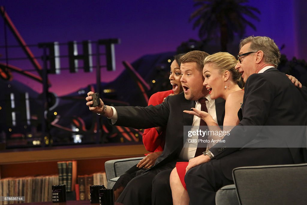 Zoe Saldana Julia Stiles and Paul Feig join James Corden on 'The Late Late Show with James Corden' Tuesday July 19th 2016 on The CBS Television...