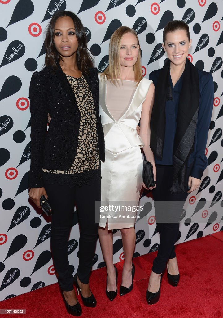 <a gi-track='captionPersonalityLinkClicked' href=/galleries/search?phrase=Zoe+Saldana&family=editorial&specificpeople=542691 ng-click='$event.stopPropagation()'>Zoe Saldana</a>, <a gi-track='captionPersonalityLinkClicked' href=/galleries/search?phrase=Kate+Bosworth&family=editorial&specificpeople=201616 ng-click='$event.stopPropagation()'>Kate Bosworth</a> and <a gi-track='captionPersonalityLinkClicked' href=/galleries/search?phrase=Allison+Williams+-+Actress&family=editorial&specificpeople=594198 ng-click='$event.stopPropagation()'>Allison Williams</a> attend the Target + Neiman Marcus Holiday Collection launch event on November 28, 2012 in New York City.