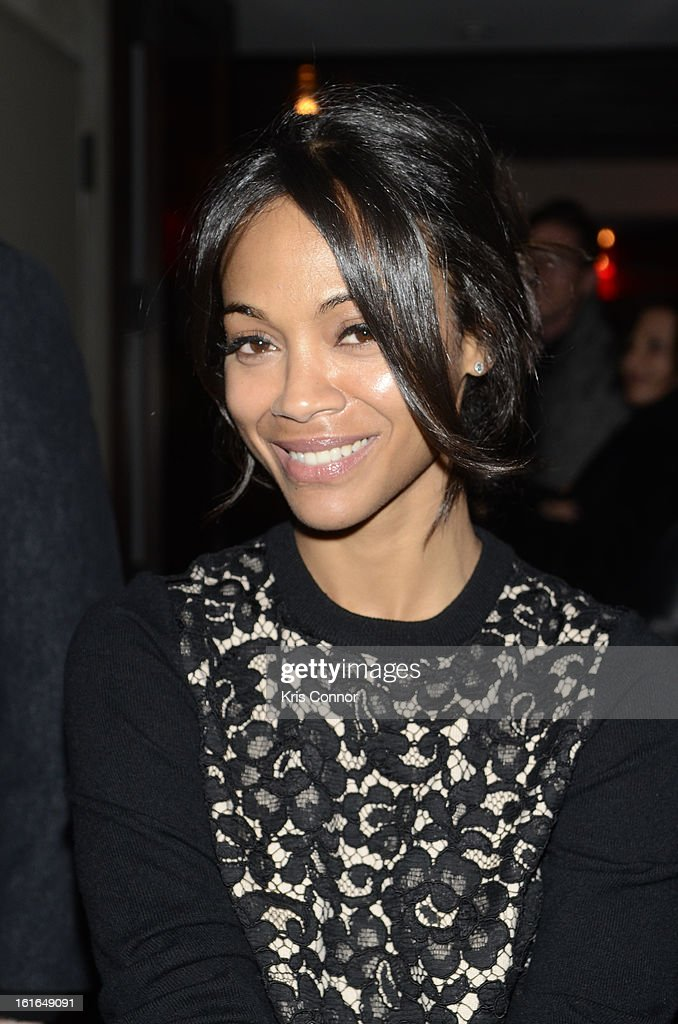 Zoe Saldana poses for a photo during the Gents Launch Party during Fall 2013 Mercedes-Benz Fashion Week at Gramercy Park Hotel on February 13, 2013 in New York City.
