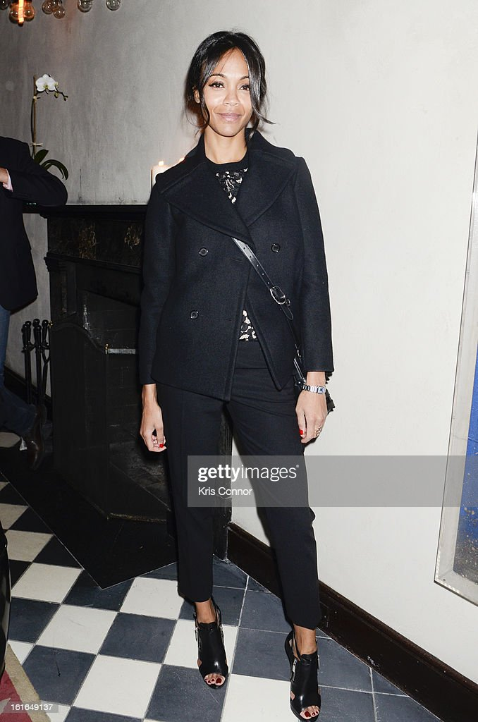 <a gi-track='captionPersonalityLinkClicked' href=/galleries/search?phrase=Zoe+Saldana&family=editorial&specificpeople=542691 ng-click='$event.stopPropagation()'>Zoe Saldana</a> poses for a photo during the Gents Launch Party during Fall 2013 Mercedes-Benz Fashion Week at Gramercy Park Hotel on February 13, 2013 in New York City.