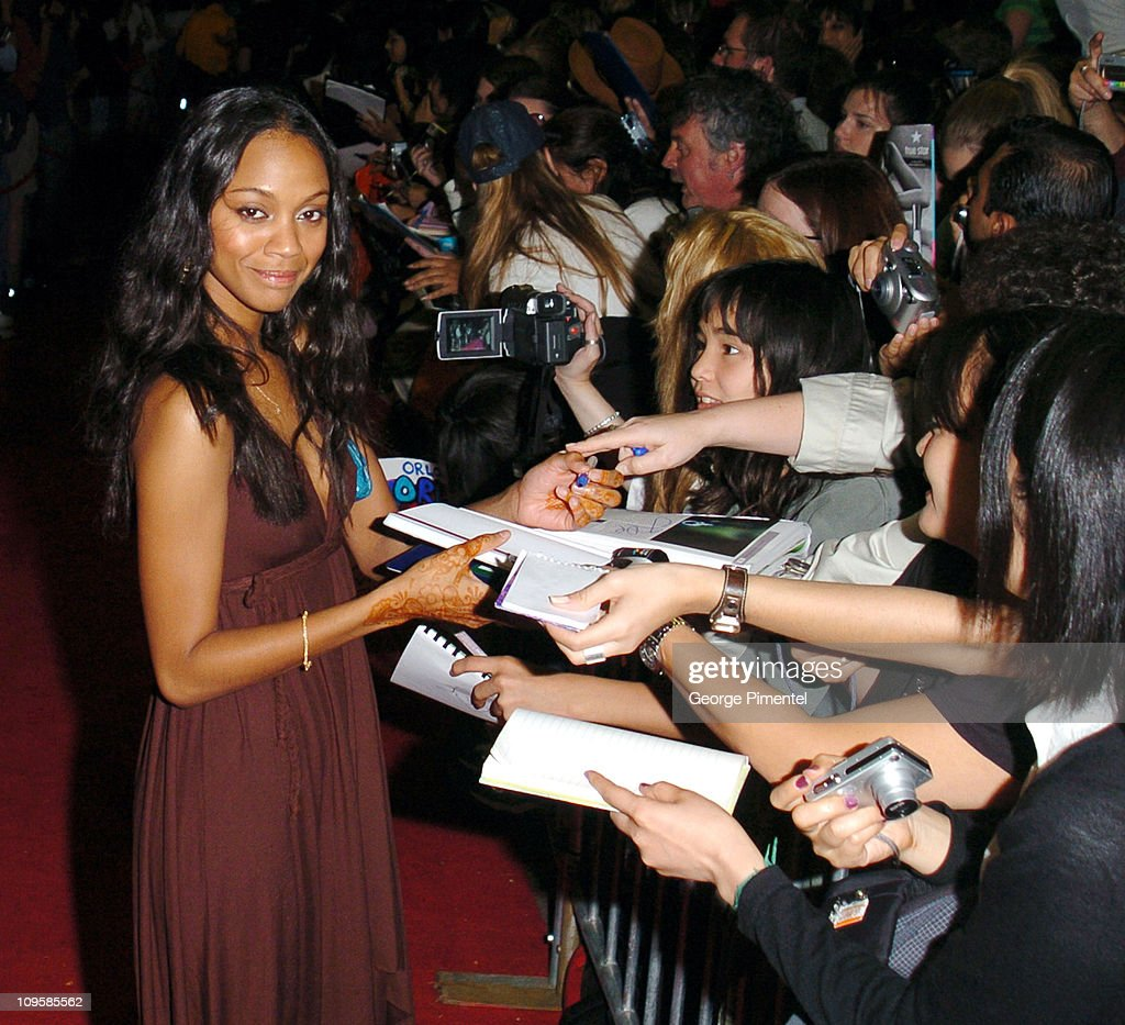 Zoe Saldana with hair and makeup by Chanel during 2004 Toronto International Film Festival 'Haven' Premiere at Ryerson in Toronto Ontario Canada
