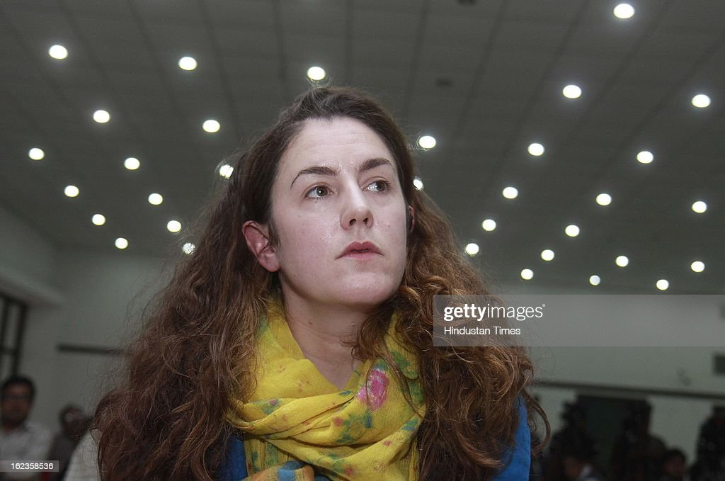 Zoe Sale, Producer of 'No Fire Zone' a war crime documentary film on Sri Lanka during the screening of highlights of and panel discussion on it on February 22, 2013 in New Delhi, India.